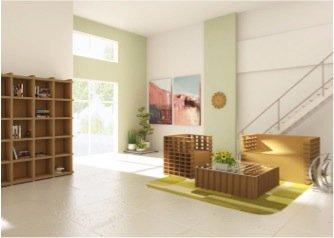 Sedie e librerie di cartone primo negozio nella marca