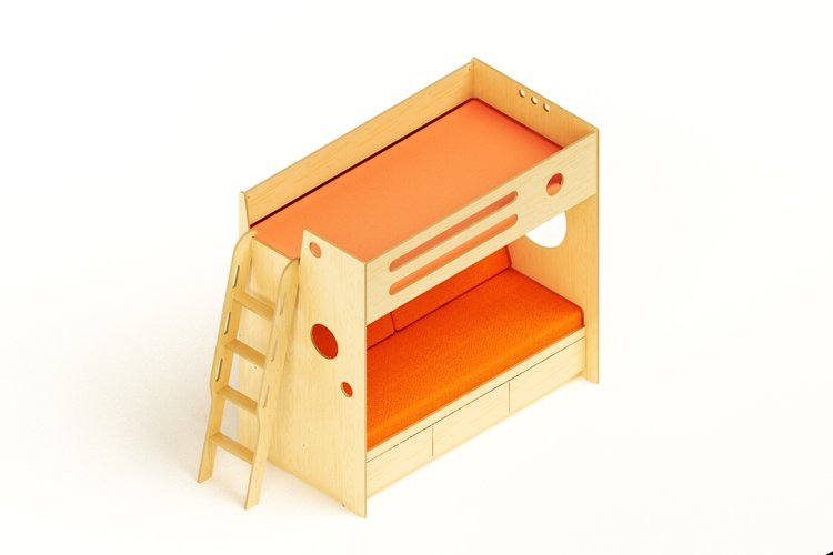 Bunk with Daybed ver 2 w Ladder Nat - orange - iso