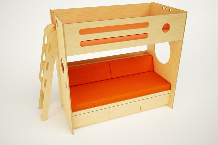 Bunk with Daybed ver 2 w ladder - orange - pers02